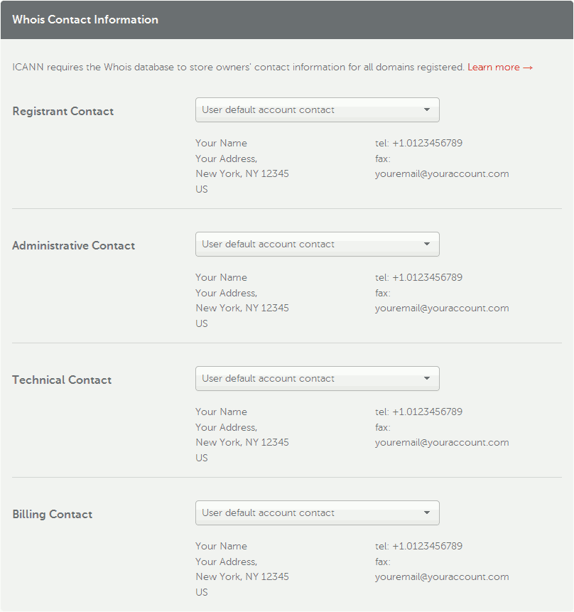 Namecheap contact information.