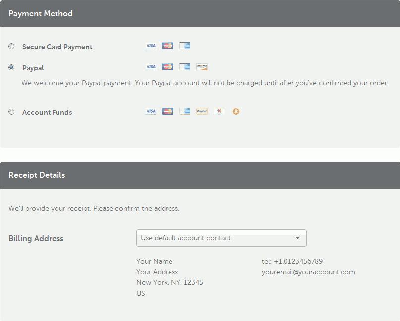 Namecheap payment option.