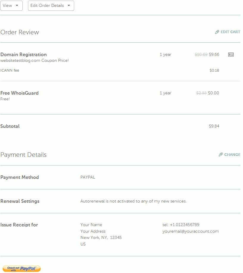 Namecheap order review.