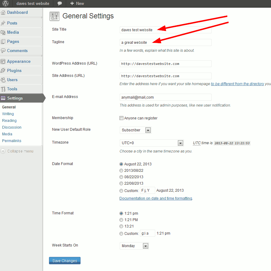 wordpress general settings configuration