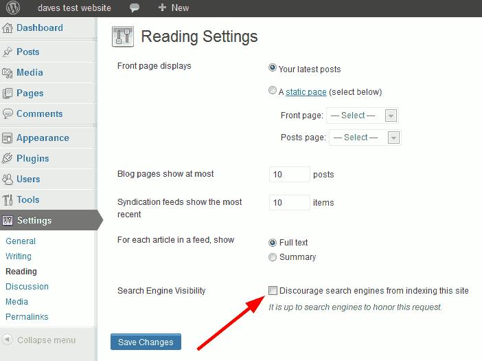 wordpress reading settings