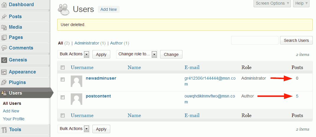 WordPress user menu with new administrator.