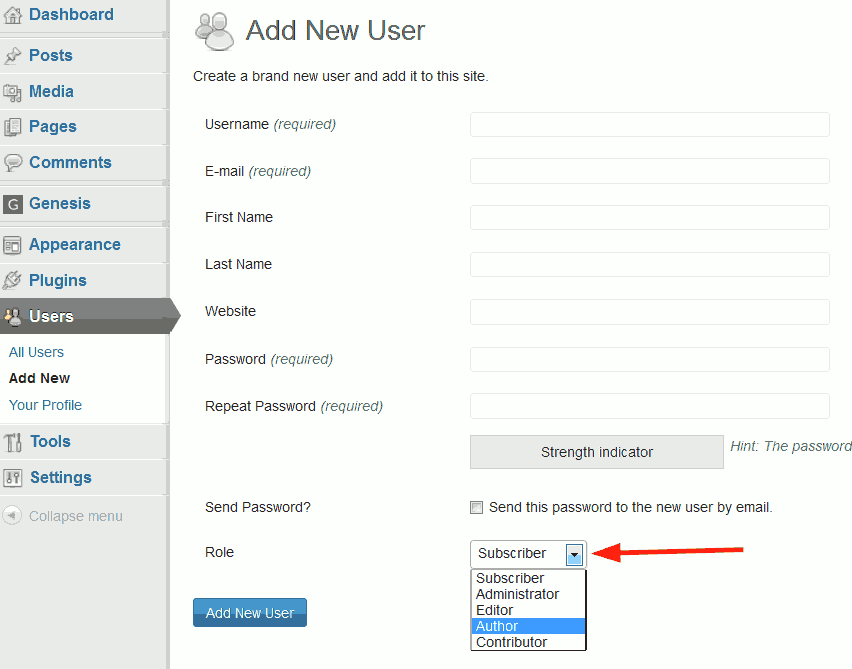 WordPress new user form.