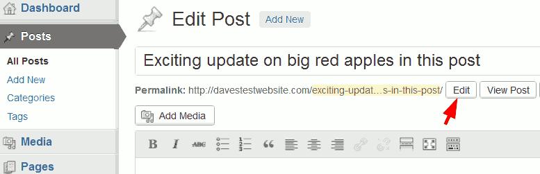 Edit WordPress permalink.