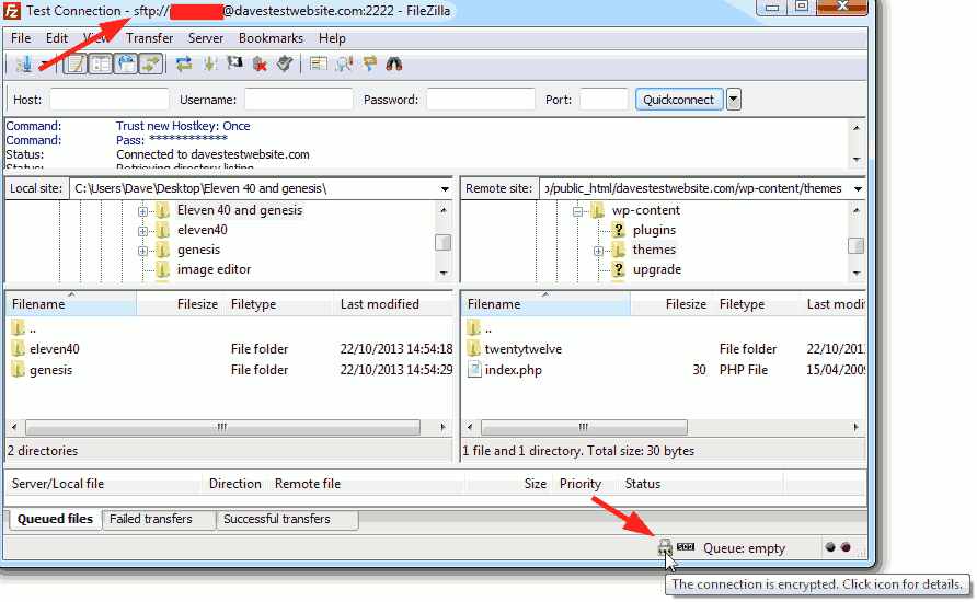 FileZilla connected to HostGator server.