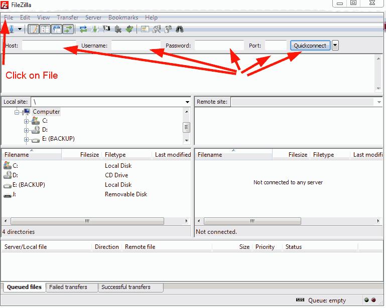 FileZilla login options.