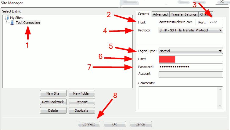 FileZilla new connection settings.
