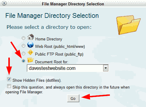HostGator file manager directory selection.