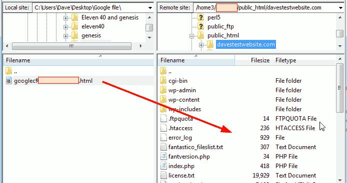 Upload HTML Google verification file