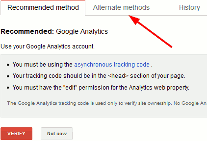Webmaster tools recommended verification method