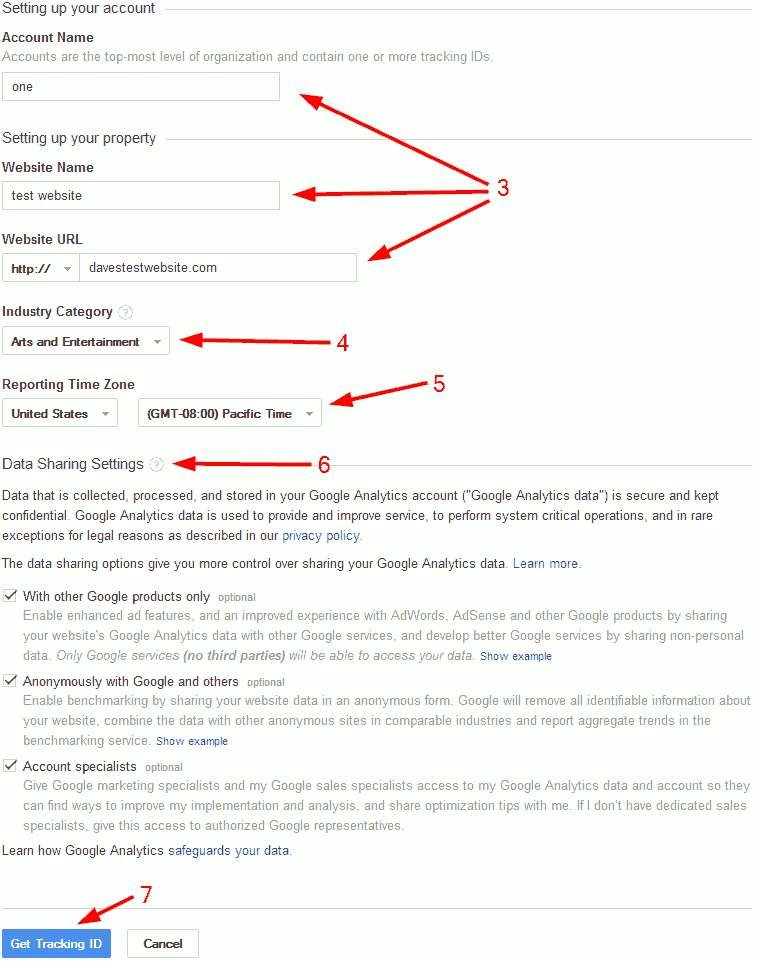 Analytics account details