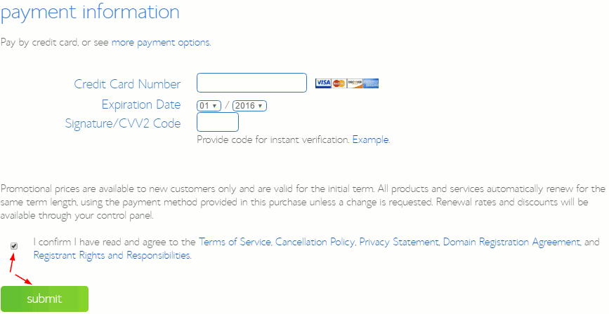 package information payment